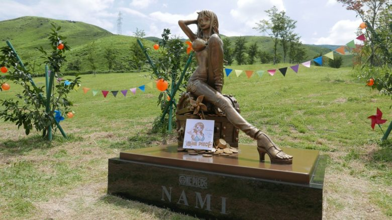 【画像】ワンピースさん、熊本にえっちなナミ像を建ててしまうwwwwww